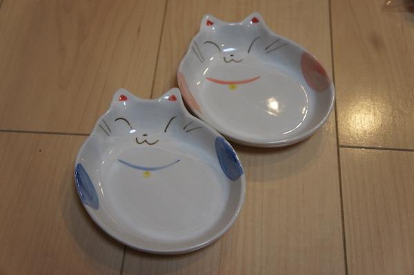 ごはん皿 ペア 猫型