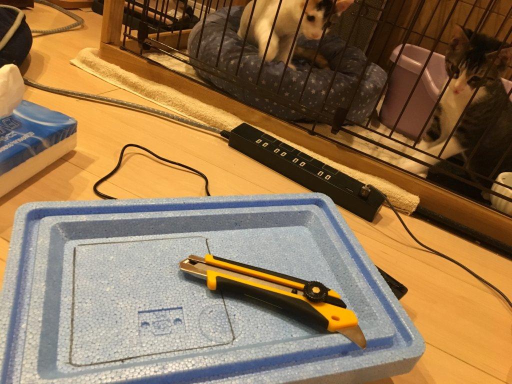 自作 DIY クーラー 猫用 カッター