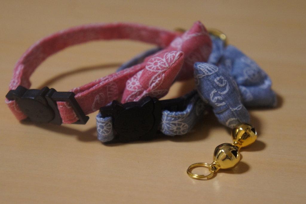 猫 首輪 鈴 リボン ブルー ピンク