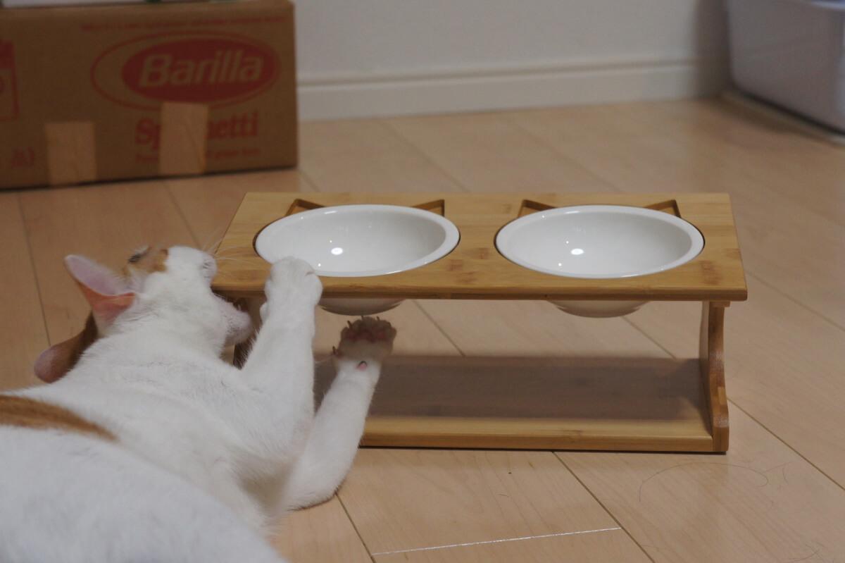 猫用ご飯皿 ボウル2つ ご飯台 食器台 猫耳 三毛猫